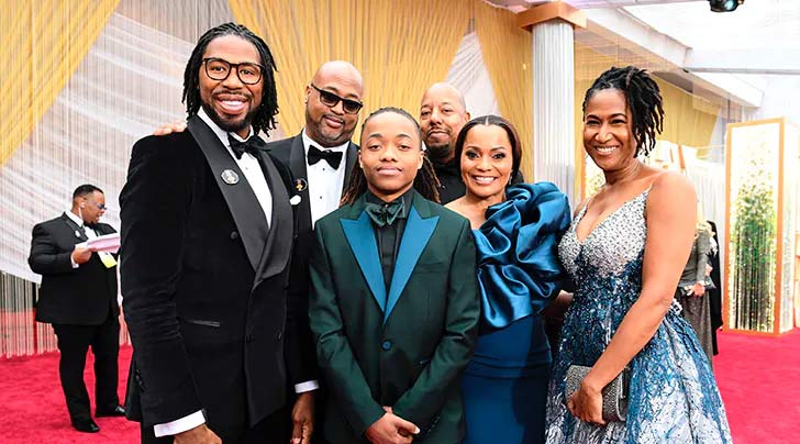 Former NFL player Matthew A. Cherry with his family - Hair Love Wins Oscar